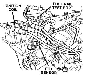 Location of Engine Coolant Temp (ECT) Sensor | The Chrysler